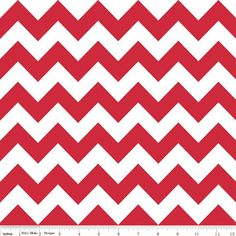 Fabric Shelf - Riley Blake Chevron Fabric/ 1 Yard /Red and White/ Yellow and White/ Medium Chevron Fabric / Gray and White / Green and White