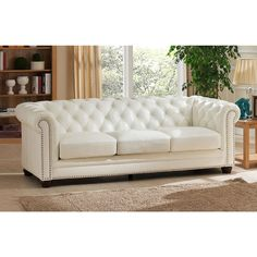 Nashville White Genuine Leather Chesterfield Sofa with Feather Down Seating…