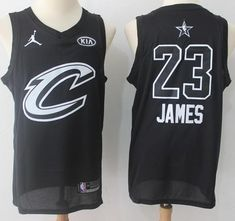 Men 2018 All Star 23 Lebron James Jersey Black Cleveland Cavaliers Fans  Swingman Kyrie Irving Celtics 77fb5c0ea