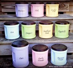 DIY Chicken Feed Supplement Canister Organization - although we don't have chickens this is clever! :)