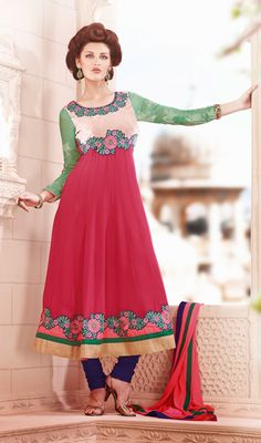 Pale Red Shade Georgette Anarkali Churidar Suit Price: Usa Dollar $189, British UK Pound £111, Euro138, Canada CA$ 202, Indian Rs10206.