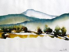 Abstract landscape of the Great Plains meeting the mountains at the east side of the Rocky Mountains in Northern New Mexico. Another of the painting-a-day series of small watercolors. A fun way to bust loose and explore with watercolors that are different from my usual approach. 16 x 12 image size, matted and ready to frame. Perfect for home or office. Image was photographed to represent original colors, but your monitor colors may vary the colors slightly. .