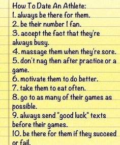 how to date an athlete :)