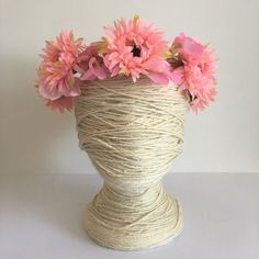 Pink Coral Flower Wisheria Boho Crown  / Daisy / Garden / Floral Wreath / Flower Girl / Hair Flowers / Bridesmaid / Fake Flower / Silk by FauxFloralCo on Etsy https://www.etsy.com/au/listing/512807355/pink-coral-flower-wisheria-boho-crown