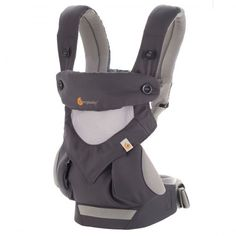 The Ergobaby Four Position 360 Cool Air Carrier in Carbon Grey, made with 3D Air Mesh fabric to keep baby cooler longer.