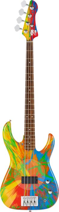 Multi-Coloured Deluxe Spin Bass Guitar - Damien Hirst and Flea from Red Hot Chili Peppers #BassGuitar
