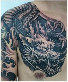 ideas tattoo designs men shoulder thighs for 2019 Mens Shoulder Tattoo, Shoulder Tattoos For Women, Sleeve Tattoos For Women, Tattoos For Guys, Dragon Tattoo Chest, Dragon Sleeve Tattoos, Chest Tattoo, Dragon Tattoo Designs, Tattoo Designs Men