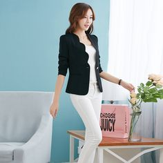 New Fashion 2016 Spring autumn Women Suit Jacket Coat Solid color slim OL ladies work wear blazer feminino chaquetas mujer J1421