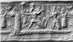 """Sumerian seal showing the chaos monster Tiamat as a serpentine monster.  In Mesopotamian Religion (Sumerian, Assyrian, Akkadian and Babylonian), Tiamat is a chaos monster, a primordial goddess of the ocean, mating with Abzû (the god of fresh water) to produce younger gods. Tiamat was the """"shining"""" personification of salt water who roared and smote in the chaos of original creation. She and Apsu filled the cosmic abyss with the primeval waters. She is """"Ummu-Hubur who formed all things""""."""