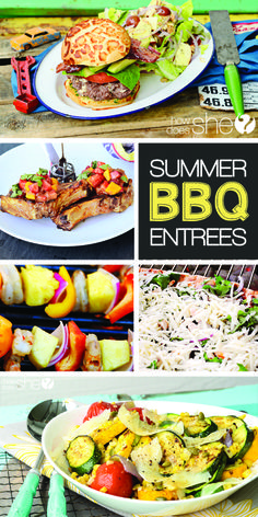 Delicious recipes for summer BBQs!! Fire up the grill! BBQ Entrees http://howdoesshe.com #bbqrecipes #BBQ #Barbeque #Grills #BBQRecipe #BBQAprons