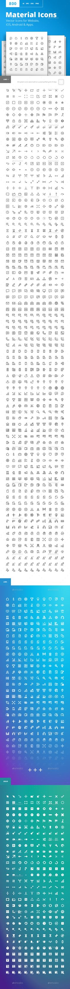 Material Design Icons Vector Icons for Website, iOS, Android & Apps. Material design pixel perfect icons set. Four different types of material icons – thin line, solid line, negative line and negative solid. Icons for business, marketing, social media, UI and UX, finance and banking, navigation, mobile app, communication, action icons, management, SEO.