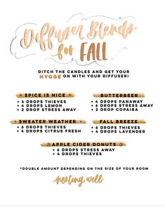 Fall Diffuser Blends to Use with oils only from your Premium Starter Kit! Panaway Essential Oil, Young Essential Oils, Essential Oil Starter Kit, Essential Oils Guide, Essential Oil Diffuser Blends, Easential Oils, Essential Oil Combinations, Diffuser Recipes, Wellness