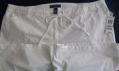 Shorts White Cargo Karen Scott Stretch Size 20W Zip Drawstring $38   eBay
