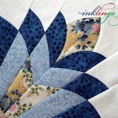 Cleopatra's Fan quilt block, a c1930s pattern. Ink Lingo.