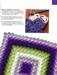 Bavarian crochet - purple and green blanket.