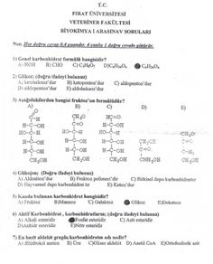 Biyokimya -1 Vize Soruları - Veterinerlik Fakültesi