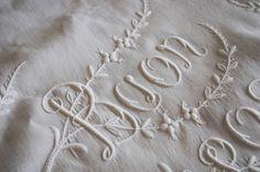 Antique Italian fine linen sheet embroidered buon riposo (sleep well). via emmaearle on eBay)