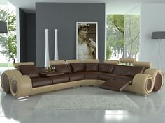 Blue/grey, brown, beige, and white for a living room or bedroom