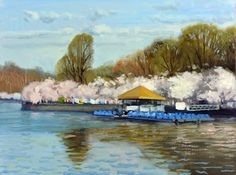 "Armand Cabrera painted this 12"" x 16"" piece in Washington DC a few days ago.  ""Boat Dock Spring"".  The cherry blossoms were at their peak."