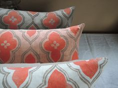 coral and taupe ogee on your choice of color linen by giardino