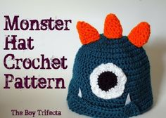 Monster Hat Free Crochet Pattern  Love this for a little boy!