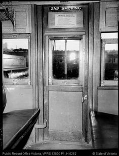 NTERNAL VIEW OF DOOR OF SWING DOOR (DOG BOX) CARRIAGE SECOND CLASS SMOKER CIRCA 1960 | by Public Record Office Victoria