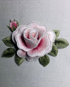 Brazilian Embroidery Beautiful pink rose designed and stitched by Susan Porter of Embellish Embroidery, Grafton. Silk Ribbon Embroidery, Crewel Embroidery, Cross Stitch Embroidery, Embroidery Patterns, Machine Embroidery, Bordado Floral, Beautiful Pink Roses, Brazilian Embroidery, Embroidery Techniques
