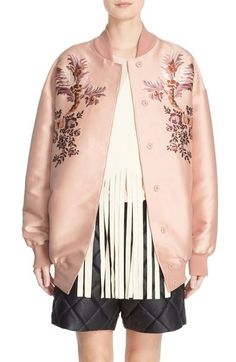 Stella McCartney Floral Embroidered Duchesse Satin Bomber Jacket available at #Nordstrom