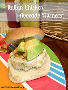 Italian Chicken Avocado Burger - great recipe for a cookout or #WeekdaySupper