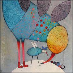Elke Trittel acrylics,collage on canvas 80/80cm