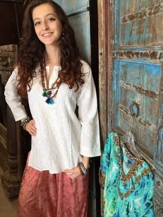 Beautiful front floral Embroidered on boho peasant tops blouses. Mogulinterior cotton tunics with 3/4 sleeves gives a traditional look and dreamy soft feeling.