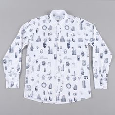 Soulland Juma Shirt W.All Over Print - White W.Black