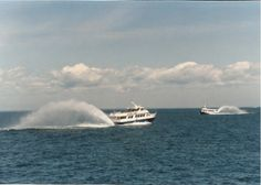 Star Line Mackinic Island's Hydro-Jet Ferry...love the rooster tails these things throw out!   Cool ride!