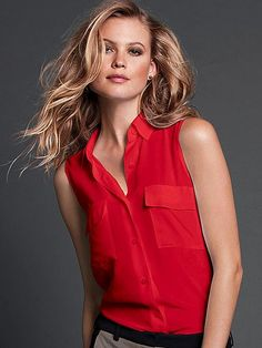 Silk Sleeveless Shirt   #VictoriasSecret