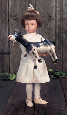 The Pup in the Ruffled Cap, The Boy in Papa's Shoe: 125 American Wooden Schoenhut Girl with Toy Schoenhut Goat