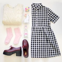 Gingham Check Shirt Mini Dress http://www.thewhitepepper.com/collections/dresses/products/gingham-check-shirt-dress Vintage Ivory Jumper http://www.thewhitepepper.com/collections/knitwear/products/vintage-ivory-jumper Leather Chunky Heel Brogue Burgundy http://www.thewhitepepper.com/collections/shoes/products/leather-chunky-heel-brogue-burgundy