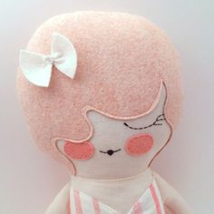 """Primrose 18"""" cloth doll, rag doll, customizable, pink with bow"""