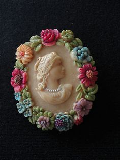 Antique/Vintage Celluloid Cameo Pin/Brooch marked Japan C-Clasp