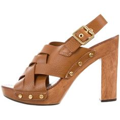 d3caaae65b6 Camel pebbled leather Tory Burch platform sandals with gold-tone hardware