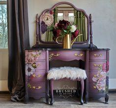 Funky Painted Furniture, Refurbished Furniture, Paint Furniture, Repurposed Furniture, Shabby Chic Furniture, Furniture Makeover, Cool Furniture, Purple Furniture, Furniture Design