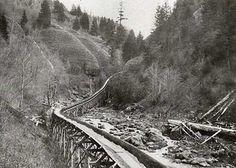 Log flume near Middle Bridal Veil Falls in 1896
