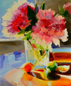 Art Print of Original oil painting of, PEONY BLOSSOMS, soft blues and pinks, square glass vase, impressionist still life