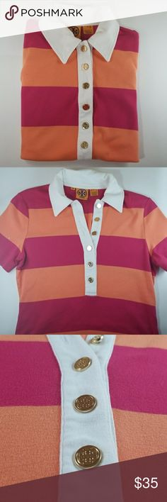 Tory Burch Striped Polo In excellent condition. Adorable striped Tory Burch Polo shirt with elegant gold Tory Burch logo buttons. Orange and pink/red striped. Thanks for stopping by! Prices are negotiable! Tory Burch Tops
