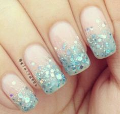 Baby blue sequined nails