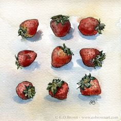 Red Strawberries Fruit Drawing Sketch for Kitchen by EOBrownArt, $15.00