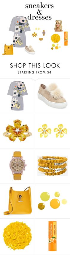 """sneakers and dresses"" by jbillington ❤ liked on Polyvore featuring Marni, Steve Madden, David Tutera, Betsey Johnson, Hermès and Illamasqua"