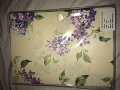 The Company Store King Flat Sheet Cream and Purple flowers 100% Cotton #TheCompanyStore