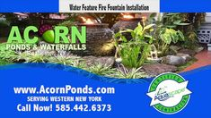 Acorn Ponds & Waterfalls brought this Rochester (NY) front yard landscape to life with the installation of this stunning custom designed garden water feature. Pond Maintenance, Rochester New York, Pond Waterfall, Water Features In The Garden, Garden Fountains, Small Patio, Front Yard Landscaping, Water Garden, Ponds