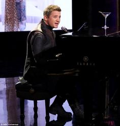 On the mark: Jeremy Renner performed a hilarious song as Hawkeye of the Avengers…
