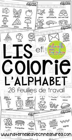 Lis et colorie l'alphabet en français | read and colour the French alphabet | apprendre les lettres et leurs sons | maternelle